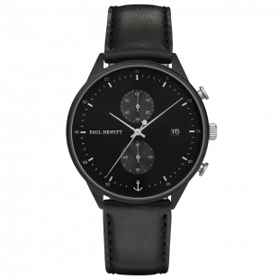 Black Sunray IP Black/Stainless Steel Leather Watch Strap Black