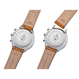 White Sand Stainless Steel Leather Watch Strap Mustard