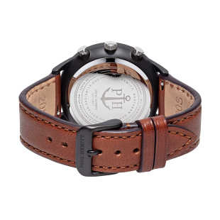 Black Sunray IP Black/Silver Leather Watch Strap Brown