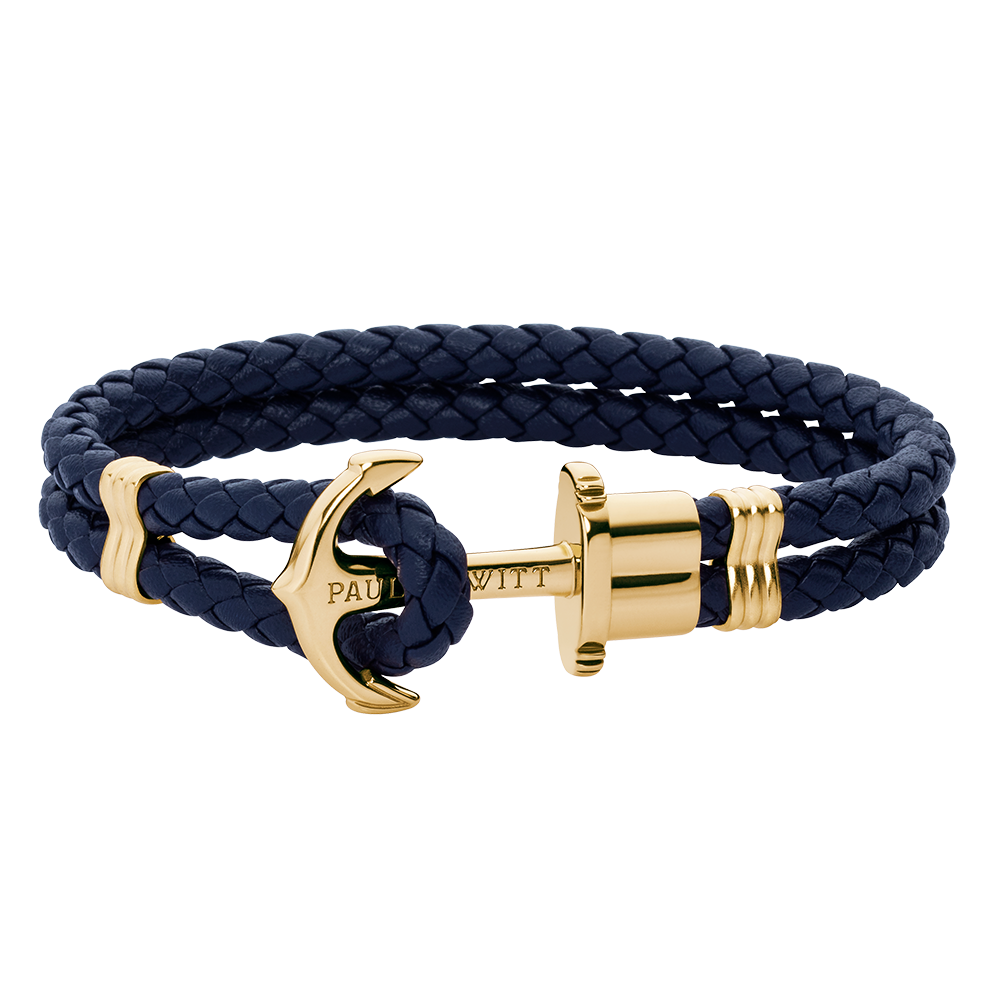 Anchor leather navy blue gold