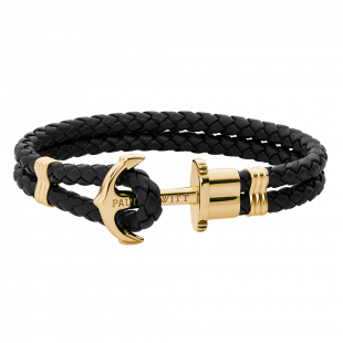 Anchor leather black gold