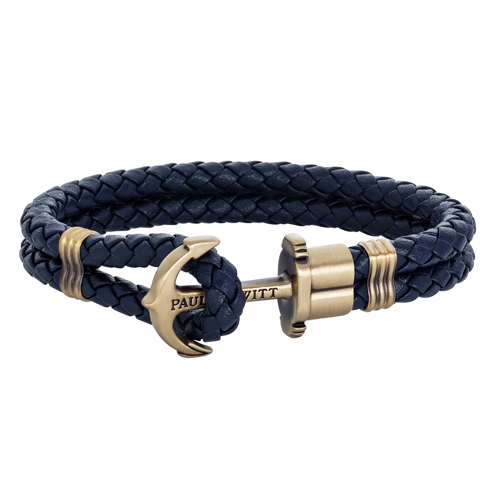 Anchor leather navy blue