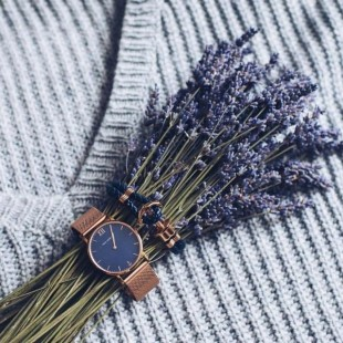 Anchor leather navy blue rose gold