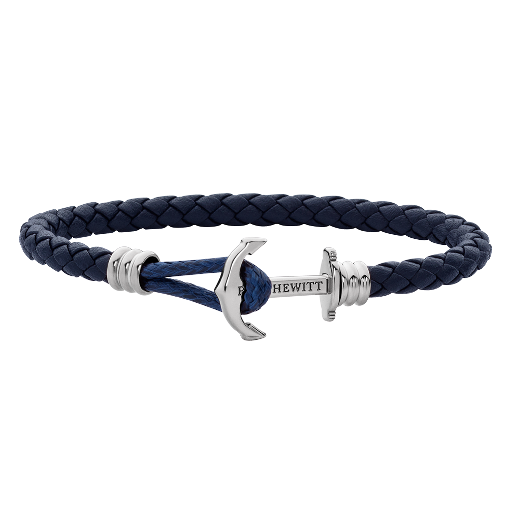 Anchor Leather Lite Navy Blue Silver