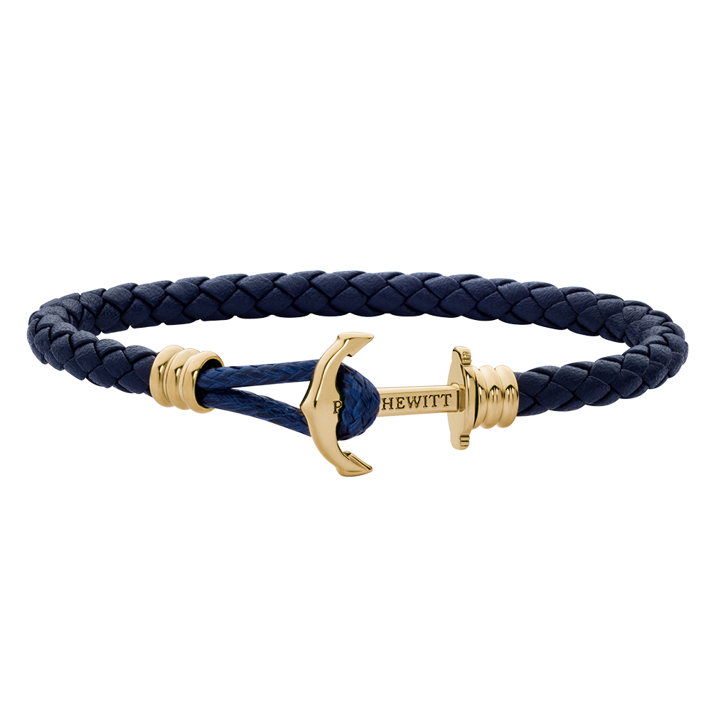 Anchor Leather Lite Navy Blue Gold