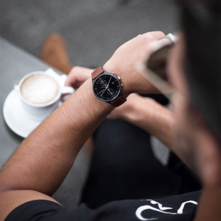 Black Sunray IP Black/Rose Gold Leather Watch Strap Brown