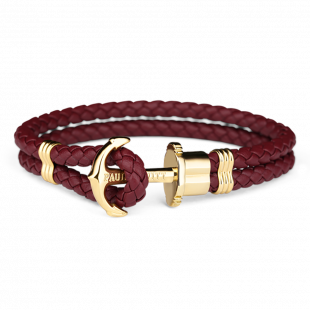 Anchor leather dark berry gold