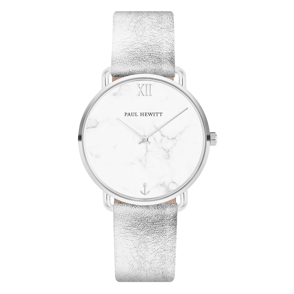 Miss Ocean Marble Stainless Steel Leather Watch Strap Liquid Silver