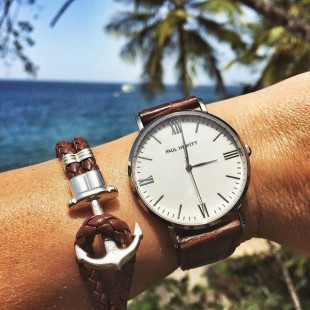 Anchor leather brown silver
