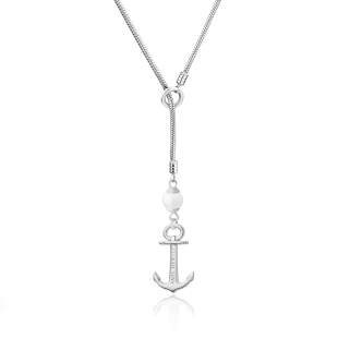 Necklace Anchor Pearl Stainless Steel