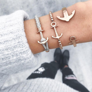 Anchor Leather Lite Grey Rose Gold