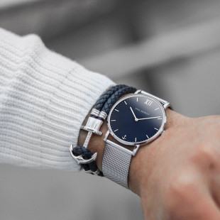 Anchor leather navy blue silver