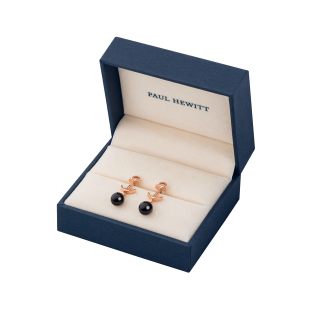 Earring Anchor Pearl Rose Gold Onyx