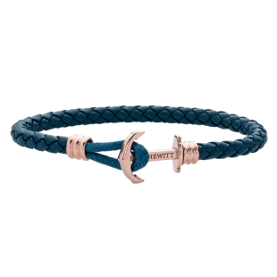 Anchor Lite Leather Petrol Rose Gold