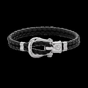 Bracelet Phinity Silver Leather Black