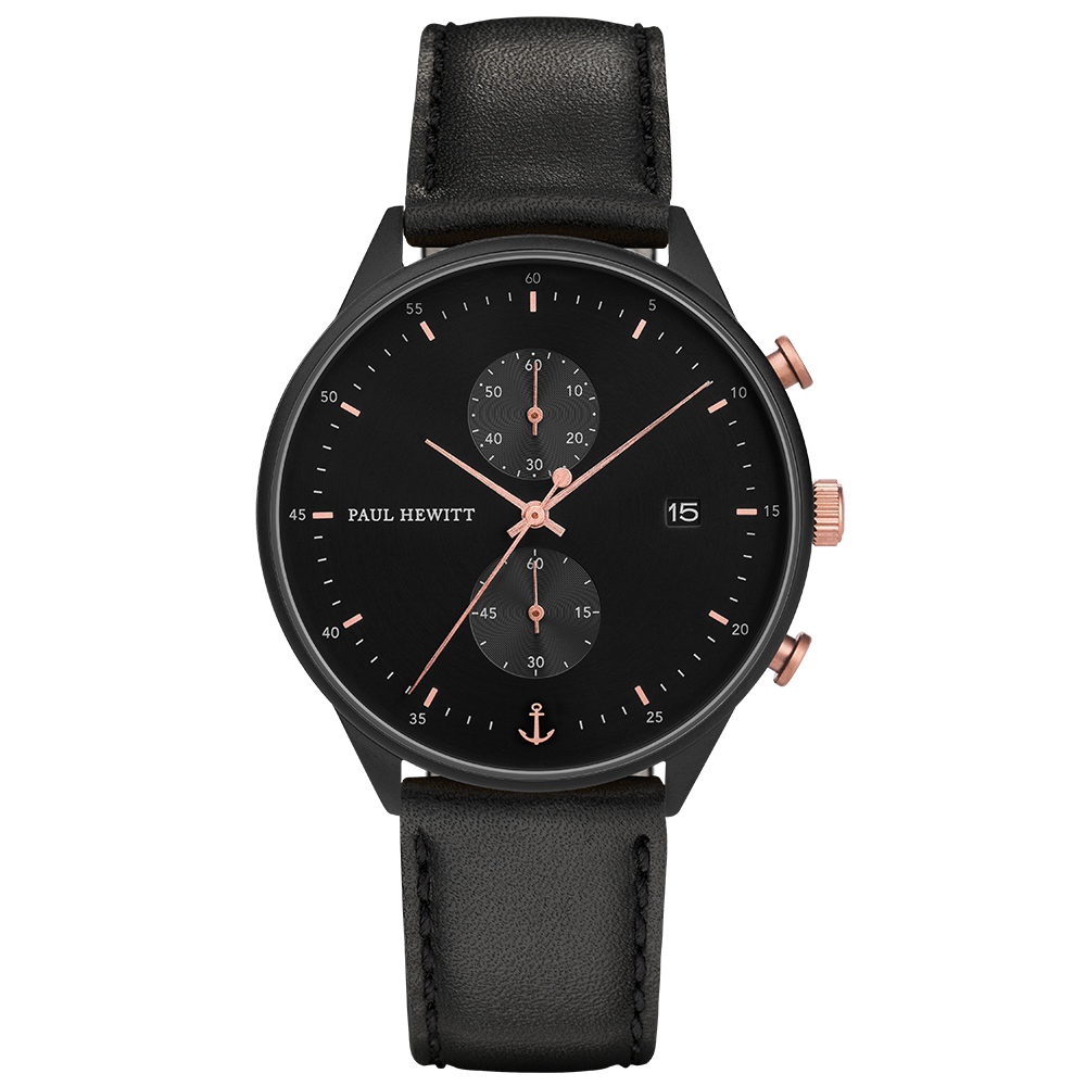 Black Sunray Black Rose Gold Leather Black